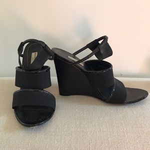 Balenciaga black leather wedges